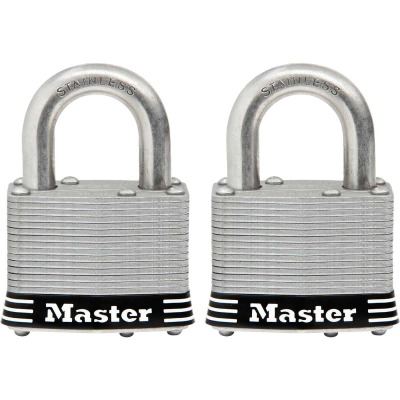 Master Lock 2 In. Laminated Stainless Steel Keyed Padlock with 1 In. Shackle (2-Pack)