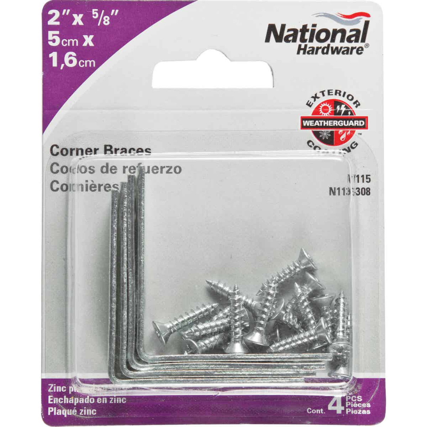 National Catalog V115 2 In. x 5/8 In. Zinc Steel Corner Brace (4-Count) Image 2