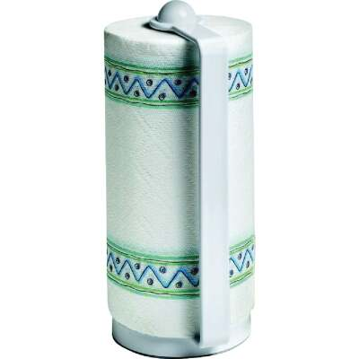 Spectrum White Portable Plastic Paper Towel Holder