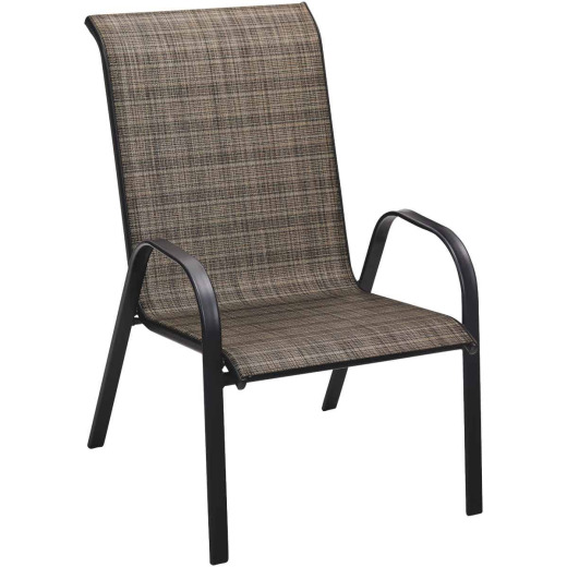 Outdoor Expressions Windsor Black Steel Sling Oversized Stacking Chair